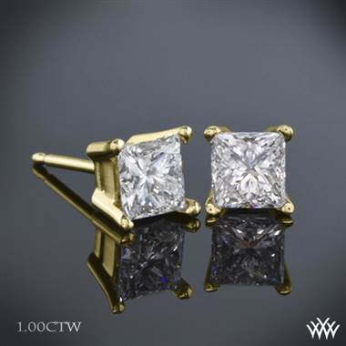 1.00ctw 18k Yellow Gold Princess Diamond Earrings