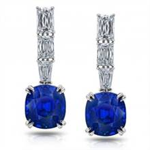 11.94ct Blue Sapphires Drop Earrings with 2.45ct diamonds set in Platinum. | I.D.Jewelry