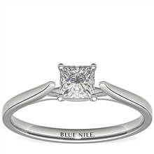 1/2 Carat Astor Princess-Cut Petite Cathedral Solitaire in Platinum (H/SI2) Ready-to-Ship | Blue Nile