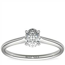 1/2 Carat Ready-to-Ship Oval-Cut Petite Solitaire Engagement Ring in Platinum | Blue Nile