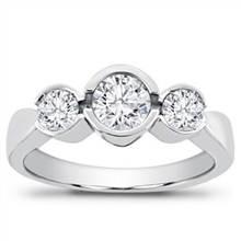 1/2 ct. tw. 3-Stone Bezel Set Engagement Setting | Adiamor