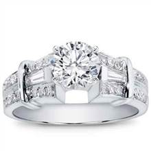 1/2 ct. tw. Baguette and Pave Engagement Setting | Adiamor
