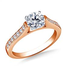 1/2 ct. tw. Round Brilliant Diamond Cathedral Engagement Ring in 14K Rose Gold   B2C Jewels