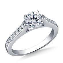1/2 ct. tw. Round Brilliant Diamond Cathedral Engagement Ring in 14K White Gold | B2C Jewels