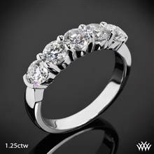 1.25ctw Platinum Five Stone Shared-Prong Diamond Wedding Ring | Whiteflash