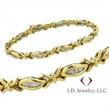 1.42CT Channel Set Baguette Cut Diamond Bracelet In 14K Yellow Gold /IDJ11126 | I.D.Jewelry