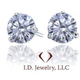 1.43 ct G SI Round Diamond Stud Earrings In 14K White Gold 10005485