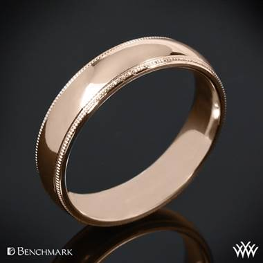 "14k Rose Gold Benchmark ""Comfort Fit"" Wedding Ring with Milgrain"