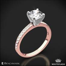 14k Rose Gold Benchmark LCP1 Small Pave Diamond Engagement Ring | Whiteflash