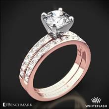 14k Rose Gold Benchmark LCP2 Large Pave Diamond Wedding Set | Whiteflash