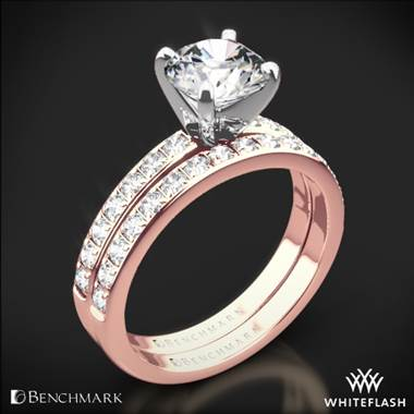 14k Rose Gold Benchmark LCP2 Large Pave Diamond Wedding Set