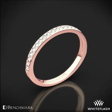 14k Rose Gold Benchmark Small Pave Diamond Wedding Ring