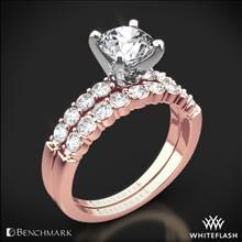 14k Rose Gold Benchmark SP4 Shared-Prong Diamond Wedding Set | Whiteflash