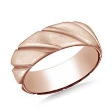 14K Rose Gold Comfort Fit Satin Finished Swirl Pattern Design Band | B2C Jewels