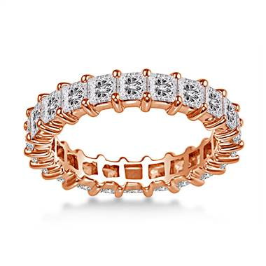 14K Rose Gold Common Prong Princess Diamond Eternity Ring (3.23 - 3.91 cttw.)