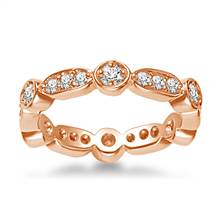 14K Rose Gold Eternity Ring Having Round Diamonds In Pave Setting (0.57 - 0.67 cttw.) | B2C Jewels