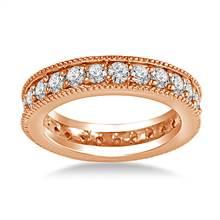 14K Rose Gold Milgrain Edged Diamond Eternity Ring (0.78 - 0.90 cttw.) | B2C Jewels
