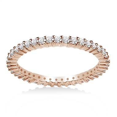 14K Rose Gold Prong-Set Diamond Eternity Ring For Ladies Diamond Band (0.53 - 0.62 cttw.)