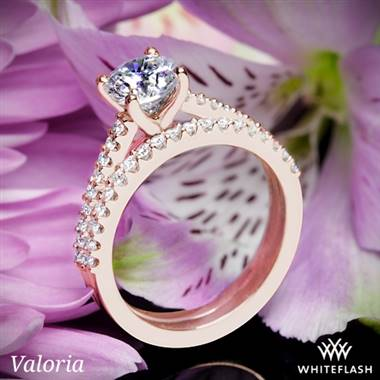 14k Rose Gold Valoria Cathedral Diamond Wedding Set