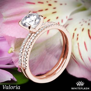 14k Rose Gold Valoria Micropave Diamond Wedding Set