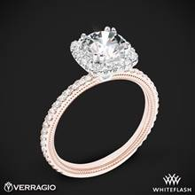 14k Rose Gold with White Gold Head Verragio Tradition TR120HCU Diamond Cushion Halo Engagement Ring | Whiteflash