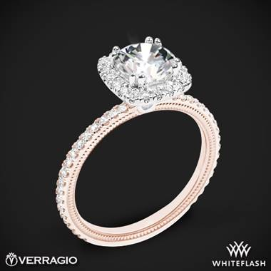 14k Rose Gold with White Gold Head Verragio Tradition TR120HCU Diamond Cushion Halo Engagement Ring