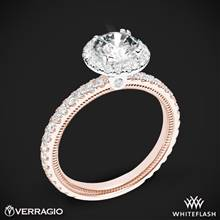 14k Rose Gold with White Gold Head Verragio Tradition TR150HR Diamond Round Halo Engagement Ring | Whiteflash