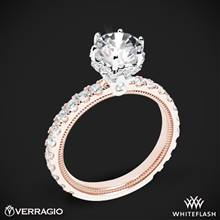 14k Rose Gold with White Gold Head Verragio Tradition TR210TR Diamond 6 Prong Tiara Engagement Ring | Whiteflash