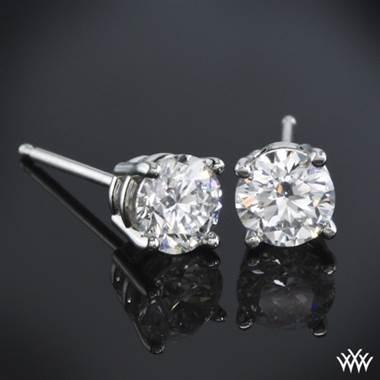 14k White Gold 4 G Diamond Basket Earrings Settings Only
