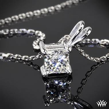 14k White Gold 4 Prong Princess Pendant Setting