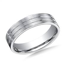 14K White Gold 6mm Comfort-Fit Satin-Finished with Parallel Center Cuts Carved Design Band | B2C Jewels