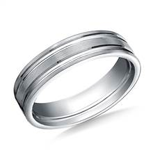 14K White Gold 6mm Comfort-Fit Satin-Finished with Parallel Grooves Carved Design Band | B2C Jewels