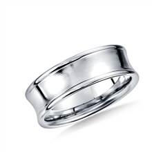 14K White Gold 7.5mm Comfort-Fit Satin-Finished Concave Beveled Edge Design Band   B2C Jewels