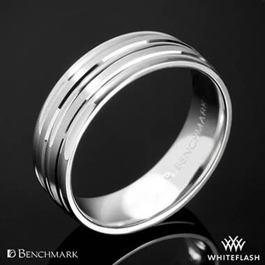 "14k White Gold 7mm Benchmark ""Chorded Satin"" Wedding Ring"