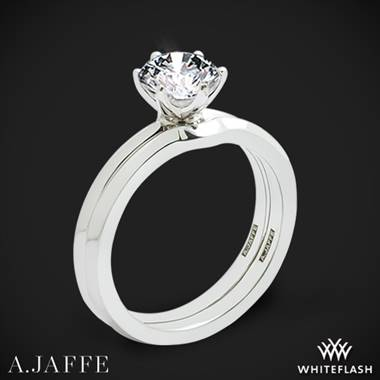 14k White Gold A. Jaffe ME1689 Classics Solitaire Wedding Set
