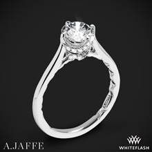 14k White Gold A. Jaffe ME1846Q Art Deco Solitaire Engagement Ring | Whiteflash