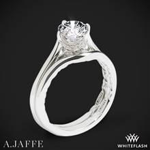 14k White Gold A. Jaffe ME1846Q Art Deco Solitaire Wedding Set | Whiteflash
