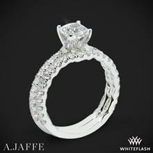 14k White Gold A. Jaffe ME1851Q Art Deco Diamond Wedding Set | Whiteflash