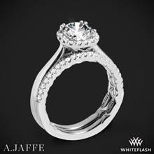 14k White Gold A. Jaffe ME2053Q Halo Diamond Wedding Set | Whiteflash