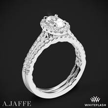 14k White Gold A. Jaffe ME2181Q Seasons of Love Halo Diamond Wedding Set | Whiteflash