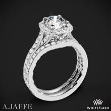 14k White Gold A. Jaffe ME2256Q Halo Diamond Wedding Set | Whiteflash
