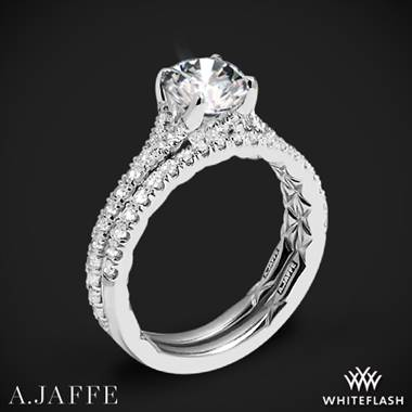 14k White Gold A. Jaffe ME3001QB Diamond Wedding Set