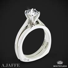 14k White Gold A. Jaffe MES166 Classics Solitaire Wedding Set | Whiteflash