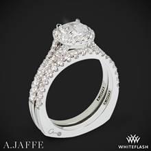 14k White Gold A. Jaffe MES576 Metropolitan Halo Diamond Wedding Set | Whiteflash