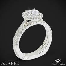 14k White Gold A. Jaffe MES577 Metropolitan Halo Diamond Wedding Set | Whiteflash