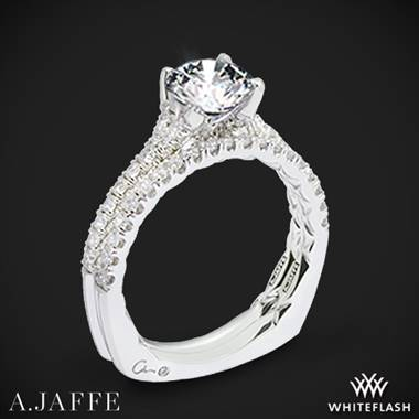 14k White Gold A. Jaffe MES742QB Classics Diamond Wedding Set