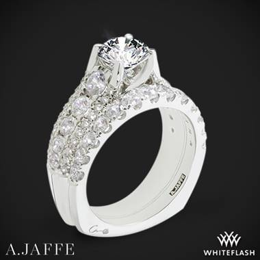 14k White Gold A. Jaffe MES898 Diamond Wedding Set