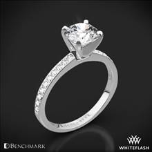 14k White Gold Benchmark LCP1 Small Pave Diamond Engagement Ring | Whiteflash