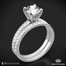 14k White Gold Benchmark LCP1 Small Pave Diamond Wedding Set | Whiteflash