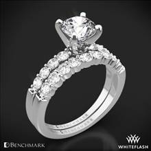 14k White Gold Benchmark SP4 Shared-Prong Diamond Wedding Set | Whiteflash